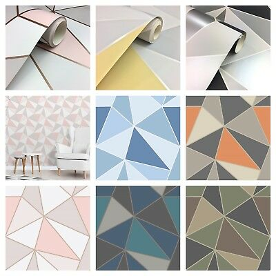 Fine Decor Apex Geometric Metallic Feature Wall Wallpaper - 7 x Colourways