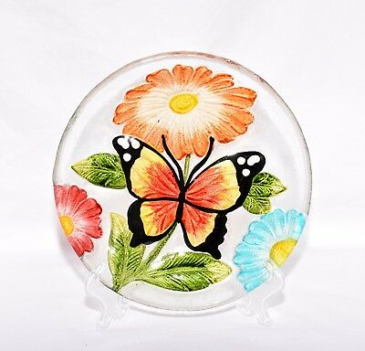 """New 8""""  Butterfly with Colorful Daisy Flowers Decorative Glass Plate & Stand"""