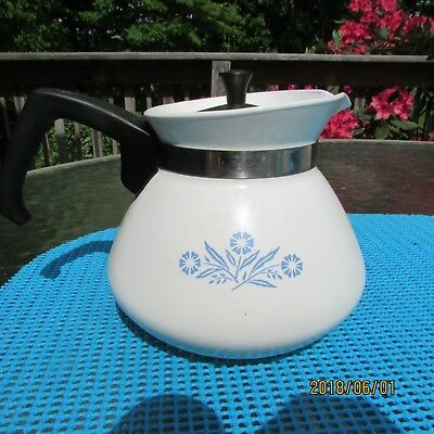 Corning Ware 6 Cup Tea Pot Cornflower with Stainless Steel Lid Vintage