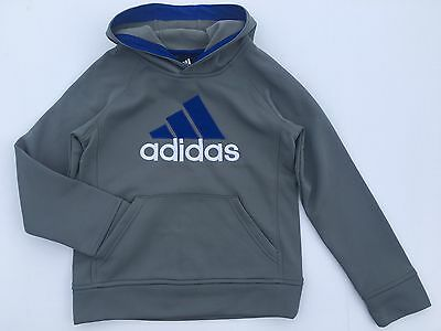 NEW Boys Size 8 ADIDAS Climawarm Pullover Hoodie Gray Fleece Winter Fall School