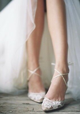 Belle Belle Anita Lace Ivory Wedding Shoes (7.5) Retails for $285