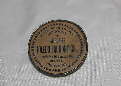 Toledo Laundry Co. Advertising Pocket Mirror Ohio