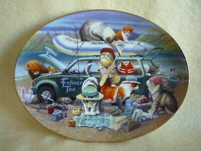 """Franklin Mint """"Kitty Car Troubles"""" Oval Collector Plate by Bryan Moon"""