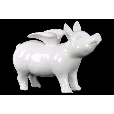 Adorning Ceramic Standing Pig Figurine with Wings - White