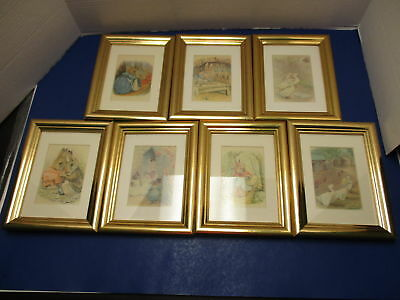 Beatrix Potter Peter Rabbit Lot of 7 Framed Pictures for Nursery Baby Child's Ro