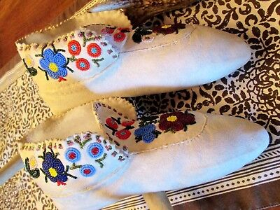 Woodland Native Tanned Beaded Moccasins Light Wear??, Ca 1950's,   Appraised