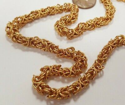 3 FEET VINTAGE SOLID BRASS CLASSIC BYZANTINE 6mm. KNURLED LINK FANCY CHAIN M296