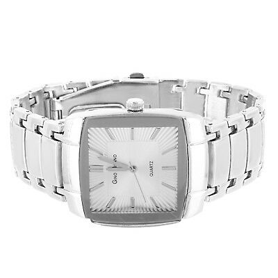 Mens Stainless Steel Back Silver Tone Square Face Wrist Watch Adjustable Links