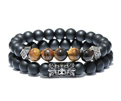 Mens /womens Bracelet Genuine Tiger Stone Beaded wristwear 2pc set LIMITED