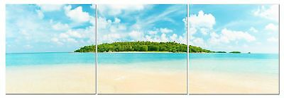 Caribbean Ocean Beach  Canvas Wall Art Decor - 24x24 3 Piece Set (Total 24x72)