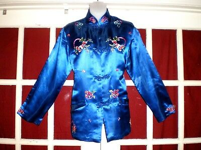 Nice Chinese Plum Blossoms Royal Blue Silk Jacket w/Embroidered Flowers sz 38