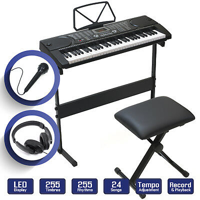 61 Key Digital Piano Music Keyboard - Electronic Keyboard Stand Stool Headphone
