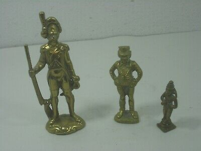 Set of Three (3) Vintage Solid Brass Statue Figurines Soldier Circus Monkey Man