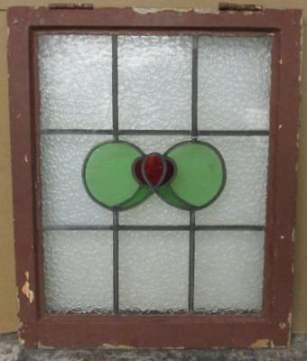 MIDSIZE OLD ENGLISH LEADED STAINED GLASS WINDOW Interesting Abstract 20.75 x 25""