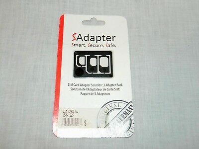 Sadapter Three 3 adapter pack  Sim Card Adapter Solution New in Package