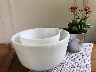 Vintage White Milk Glass Hamilton Beach Pyrex Ribbed Mixing Bowl Set Neutral Dec