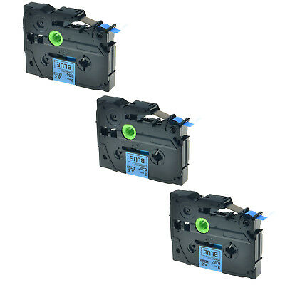 3PK TZ 521 TZe-521 Black on Blue Label Tape For Brother P-Touch PT-1010B 9mmx8m