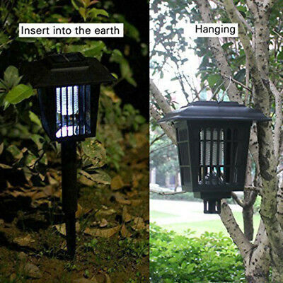 LED Zapper Solar Powered Outdoor Mosquito Insects Killer Garden Lawn Light KK