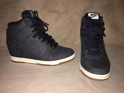 brand new be9f8 d1650 Nike Dunk Sky Hi Hidden Wedge Denim Sz 8
