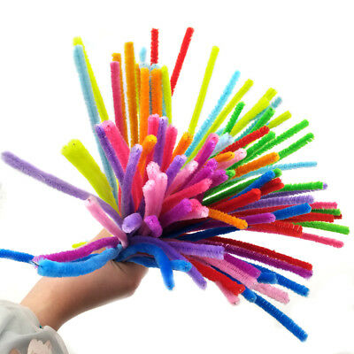 """100PCS Set Chenille Craft Stems Pipe Cleaners 30cm (12"""") Long,6mm Wide-Kids DIY"""