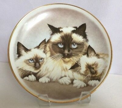 Cat Collector Plate Mother and Two Kittens Porcelain Gold Trim Vintage 1994
