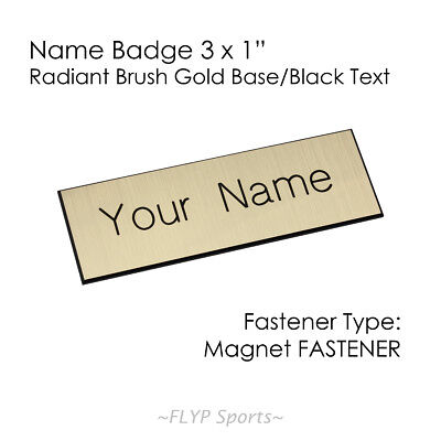 "Name Badge Tag Plate Gold/Black Magnet 3x1"" Personalised Engraved Customised ..."