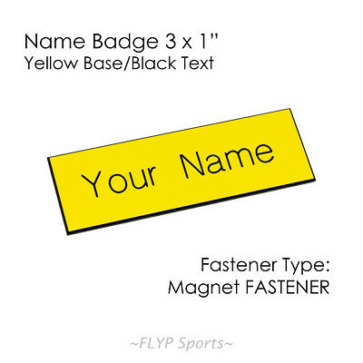 "Name Badge Tag Plate Yellow/Black Magnet 3x1"" Personalised Engraved Customise..."