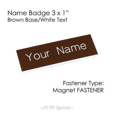 """Name Badge Tag Plate Brown/White Magnet 3x1"""" Personalised Engraved Customised..."""