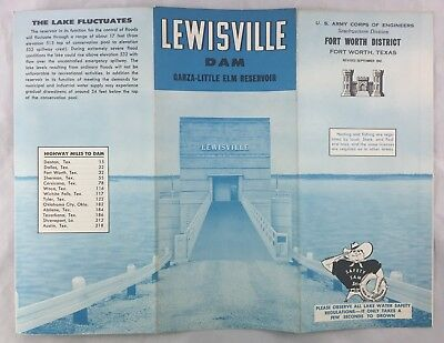 Vintage Army Engineer Map Lewisville Texas Dam Garza Little Elm Reservoir Lake
