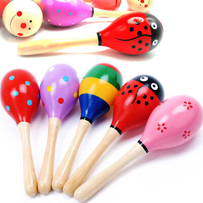 """5/10PCS Large 7.5x2.4"""" Wooden Maraca Rattle Baby Musical Shaker Toy Party Gift"""