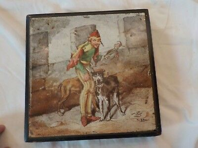 Vintage Wooden Painted Antique Trivet Signed