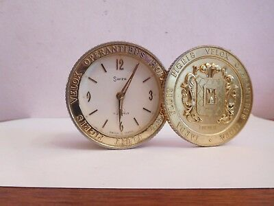 Found*vintage 1959  Swiza 8 Day  7 Jewel Coin Stack Design Alarm Clock