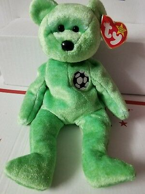 Collectible Ty Beanie Baby KICKS Soccer Bear with Tag ErrorMINT Condition