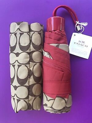 Coach F63365 Mini Umbrella In Signature Khaki & Red NWT