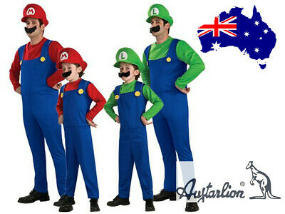 Halloween Adult Men's Super Mario Luigi Bros Plumber Fancy Dress Party Costume