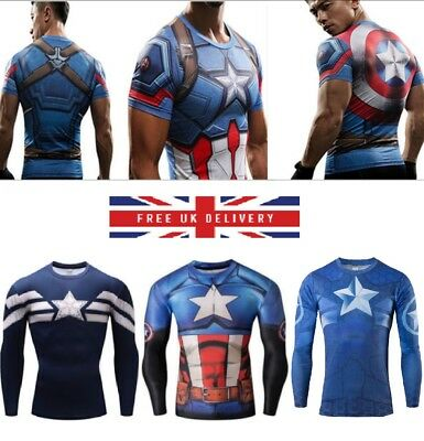Mens compression top gym superhero crossfit marvel muscle Captain america
