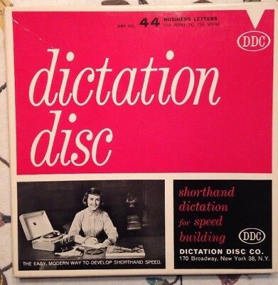 Vintage Dictation Disc DDC Shorthand Speed Building 44 Business Letters Records