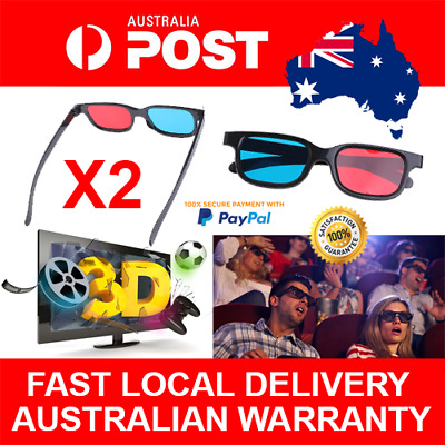 2pcs Anaglyph Red Blue Cyan 3D Glasses for PC LCD TV Gaming Stereoscopic