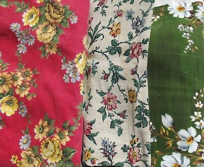 Bundle Vintage French Country Style Fabric 1930s scraps remnants