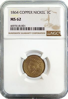 1864 1C Indian Head Cent Copper Nickel NGC MS62