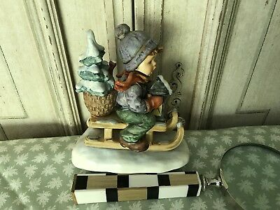 """Hummel 1971 Boy on Sled 396 """"Ride into Christmas"""" Excellent Condition"""