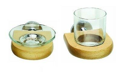 Croydex The Cheriton Beech and Chrome Collection Soap Dish and Tumbler Holder