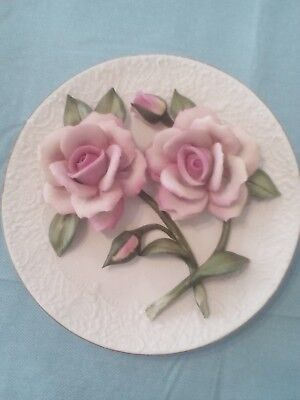 Franklin Mint Limited Edition Sheer Bliss Roses Of Capodimonte 3D Plate With Coa