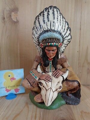 "INDIAN CHIEF Sculpture 11"" Headdress Buffalo Skull HAND PAINTED Ceramic"