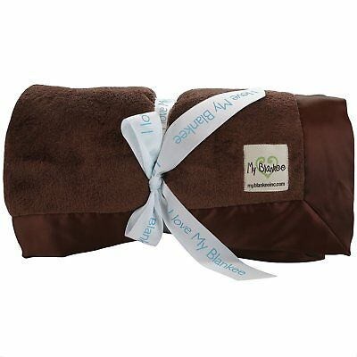 My Blankee Lightweight Minky Super Throw Blanket with Flat Satin Border, Brown,