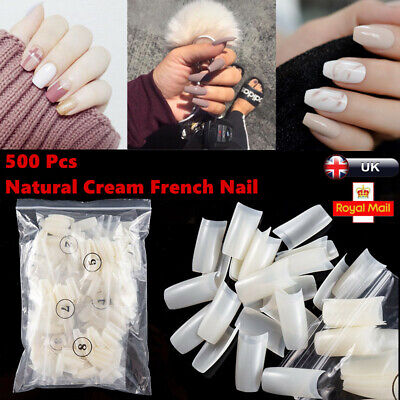 500x Artificial French False Acrylic Nail Art Tips Natural Cream White Style UK
