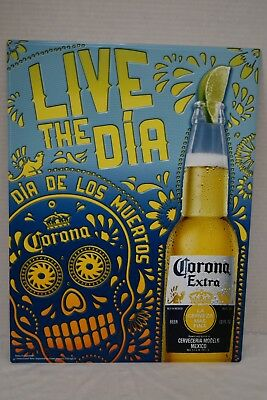 "Corona Extra Live The Dia De Los Muertos 21"" X 16"" Embossed Metal Tin Sign New"