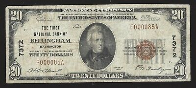 1929 $20 First National Bank of Bellingham, Washington - Circulated Note