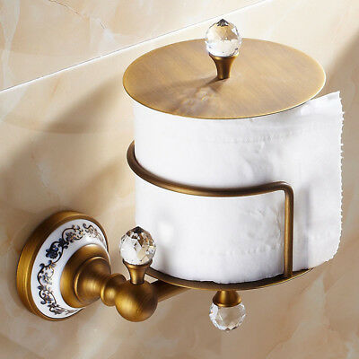 Bathroom Toilet Roll Paper Holder Tissue Wall Mounted Hanger Shelf Brass Antique