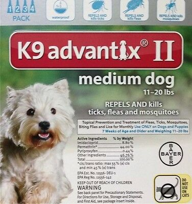 K9 Advantix II for Medium Dogs 11-20 lbs 4 Doses/4 Month Supply